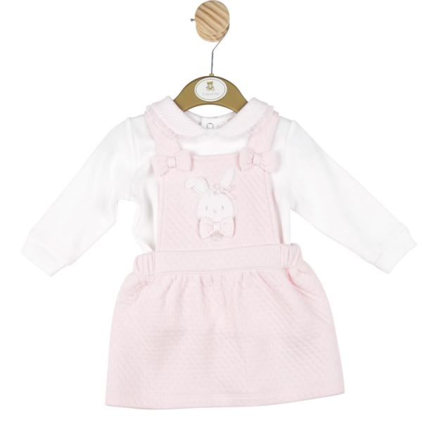 MINTINI BABY - Pink Pinafore with bunny detail and white long sleeve top with detailed gingham pink & white collar.