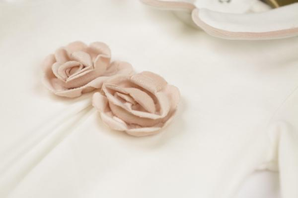 MINTINI BABY - White sleep suit with rose gold flower detail & pipped collar