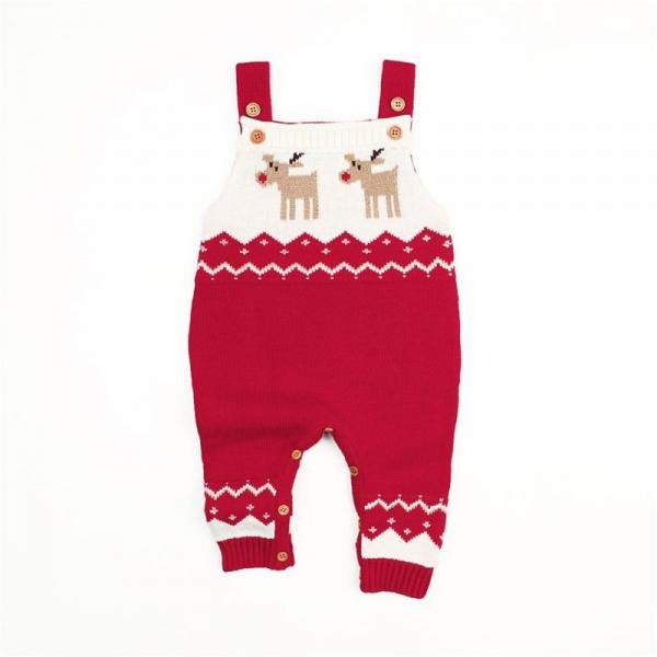 Organic Baby Christmas Reindeer Novelty Knitted Dungarees