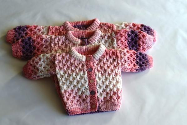 Premature Baby Traditional Hand Knitted Double Knit Cable Style Cardigan