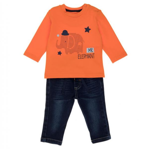 Baby Boys Elephant Design Top and Jeans Set