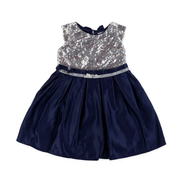 Baby Girls Navy Blue and Silver Sparkly Dress