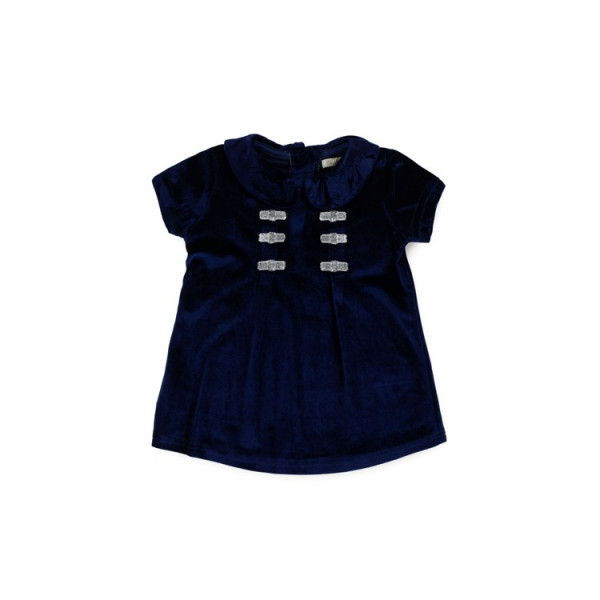 Baby Girls Navy Dress with Silver Bows